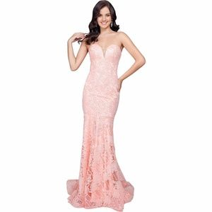 TERANI COUTURE Lace Prom Evening Dress